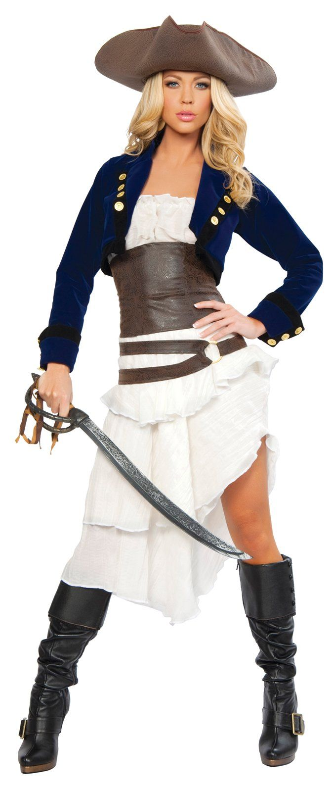 Swashbuckling just got way more stylish.     Turn heads on the high seas on this stunning ensemble. The Colonial Pirate Adult Costume includes a strapless, tiered dress, faux-leather belt with O-ring details, coordinating faux-leather waist cincher, bolero jacket, pirate hat and sword.