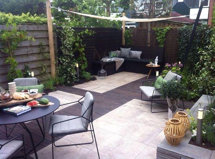 Urban backyard with living/eating areas