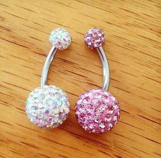 Pink and white diamond belly button rings