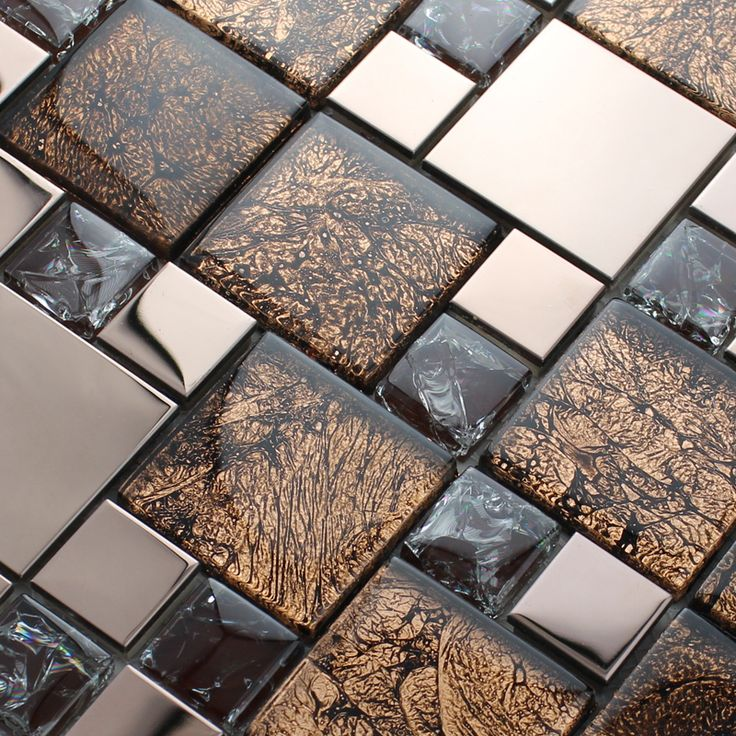 Metal and glass blend mosaic tile brown