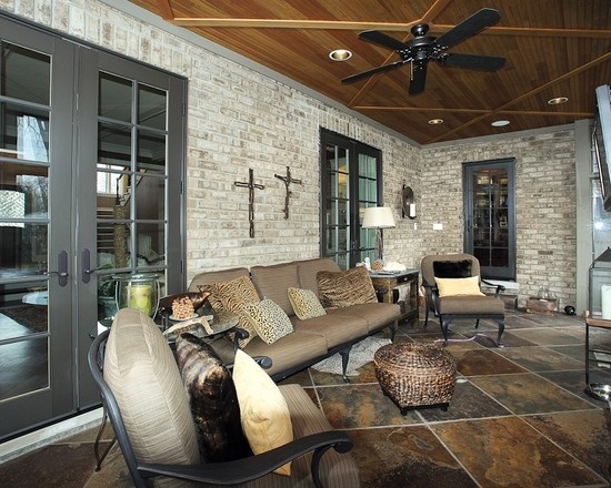 Love Dark Trim And French Doors Paired With Slate Tile