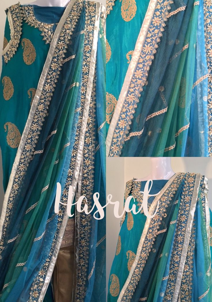 Teal ombre #khadadupatta in smouldering shades of the sea, floral zardozi border adds a ritzy touch and the gold brocade pencil pant/khada pajama perfects the look of this signature #Hyderabadi attire. Contact +91 7989766600or hasratbridals@gmail.com