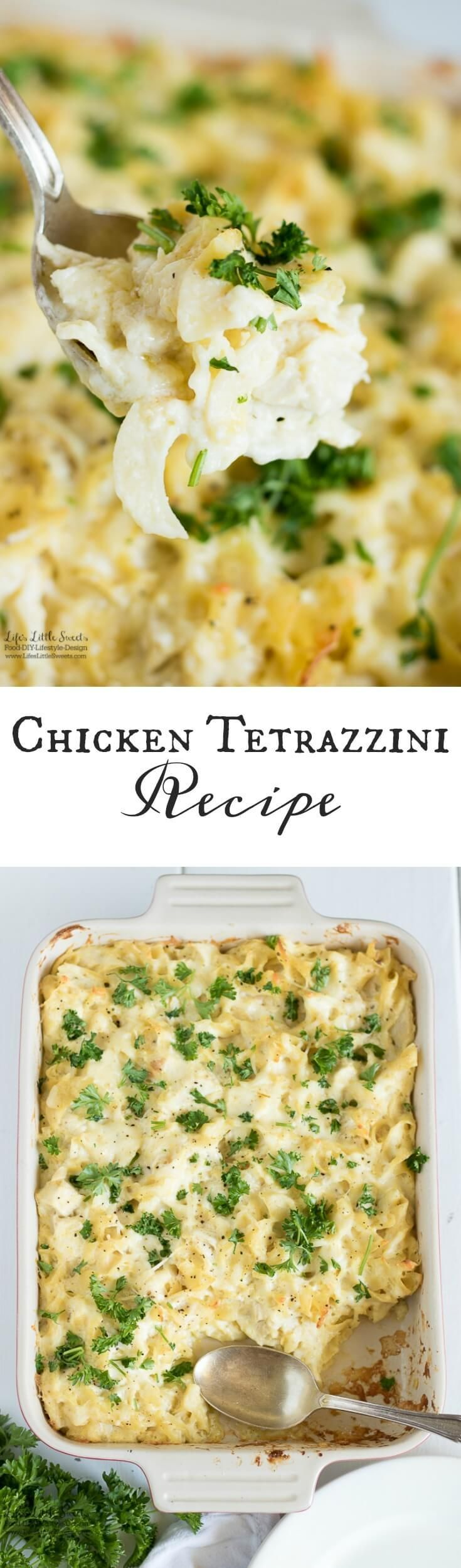 This Chicken Tetrazzini Recipe is a creamy, cheesy, flavorful and satisfying one-dish casserole that feeds a crowd. It includes an option to swap out sour cream for plain Greek yogurt (serves 12). www.lifeslittlesweets.com