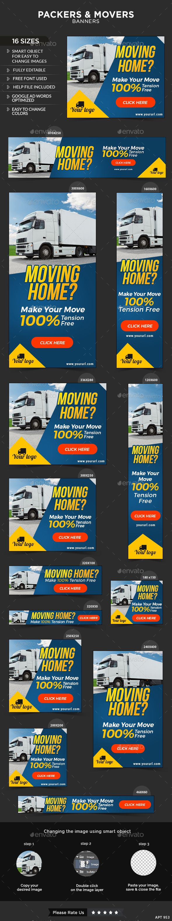 Packers & Movers Service Banners — Photoshop PSD #delivery #move • Available here → https://graphicriver.net/item/packers-movers-service-banners/13376528?ref=pxcr