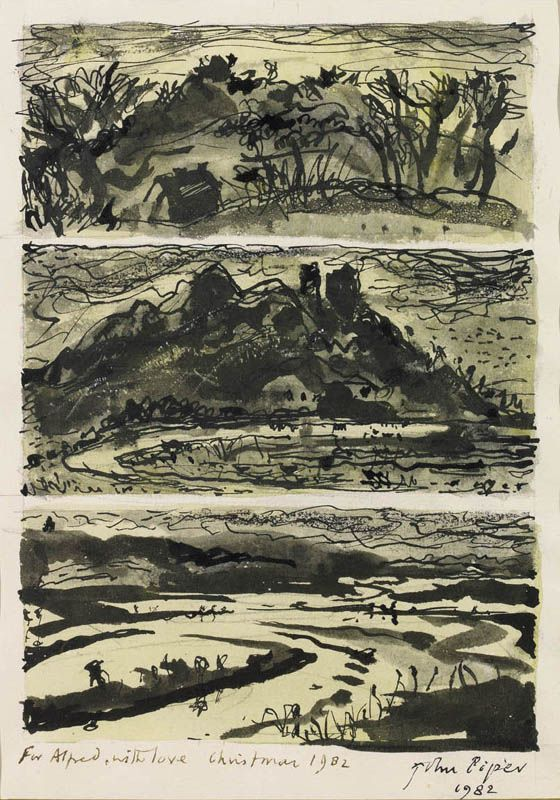 """Grongar Hill"" by John Piper, 1982. In 1982 Piper illustrated a limited edition of Grongar Hill by Stourton Press. Grongar Hill, a poem by John Dyer first published in 1726, struck Piper 'as one of the best purely topographical poems in existence, because it is so visual. ... I have loved the poem ever since I first read it, and I return to it whenever I feel depressed about the countryside getting spoilt.'"