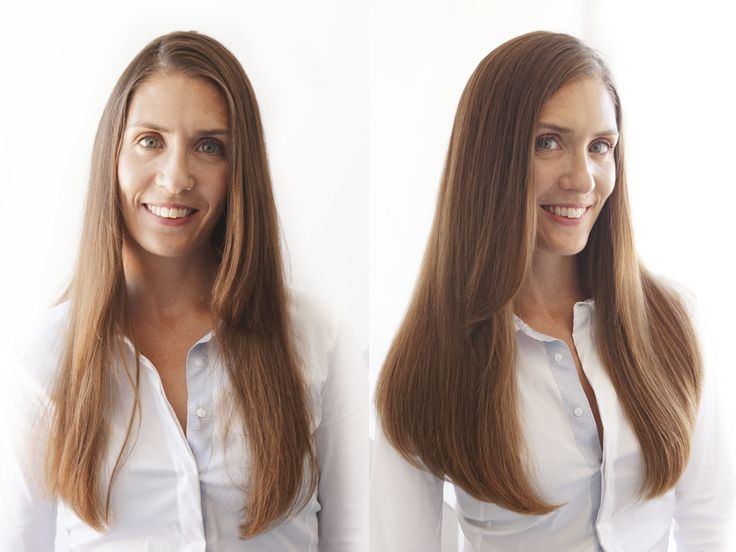 Before After Estelles Secret Clip In Hair Extensions The Model Is Wearing Shade