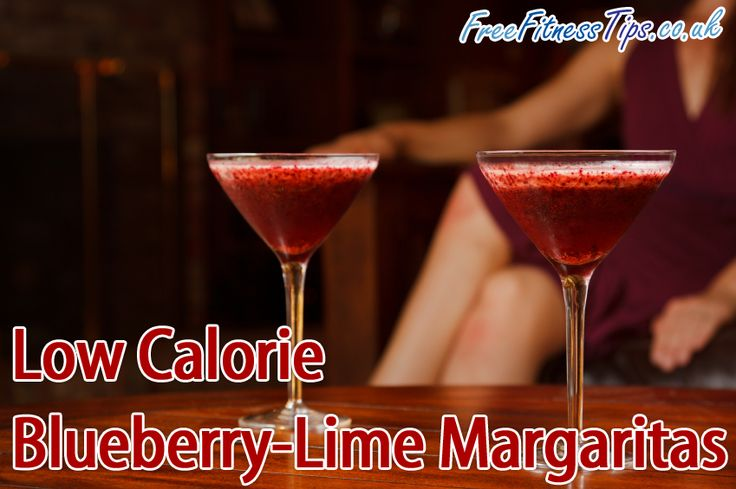 Low Calorie Blueberry Lime Margaritas Recipe - Packed with health boosting anthocyanins and just 125 calories per glass.