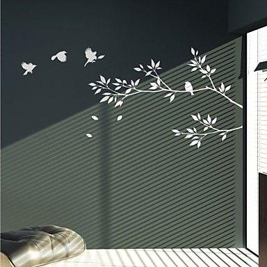 Adesivi da parete tema alberi uccelli colore puro