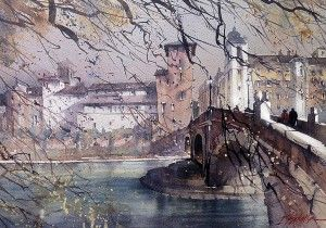 Thomas W. Schaller | Where Worlds Collide on http://www.southwestart.com: Artists, Galleries, Architects, Watercolor Paintings, Rome Italy, Watercolors, Pont Fabricius, Watercolour, Thomas Schaller