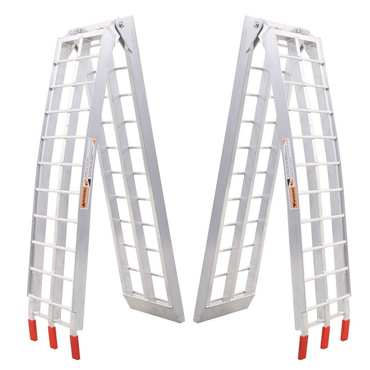 1 Pair 7.5' Heavy Duty Aluminum Motorcycle Bike Arched Foldable Loading Ramps