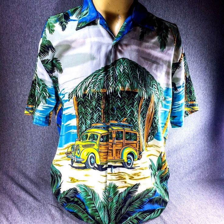 Ferugini Woody Hawaiian Button Shirt Medium Surfboard Tiki Hut Palm Tree #Ferugini #Hawaiian