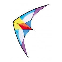"""Drachen """"Eric"""" - Dieser leuchtend bunte Lenkdrachen bringt Farbe an den Himmel und Freude in die Kinderherzen! Ein wenig Übung ist gefragt und dann können die """"Piloten"""" mit den beiden Handspulen gewagte Flugmanöver am Himmel vollführen. Die Segelfläche besteht aus strapazierfähigem Kunststoff und flexible Stäbe sorgen für Stabilität beim Flug. ca. 74 x 140 x 5 cm"""