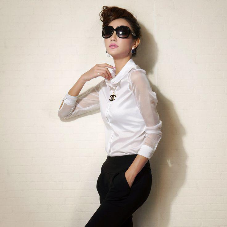 2014 Summer Women White Long Sleeve Chiffon Blouse Shirt Fashion Ladies Sexy Casual Tops Camisa Blusas Femininas Free Shipping US $21.99