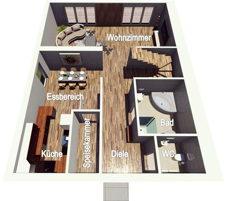 Grundriss einfamilienhaus modern 3d  74 besten Grundrisse Bilder auf Pinterest | Grundriss bungalow ...