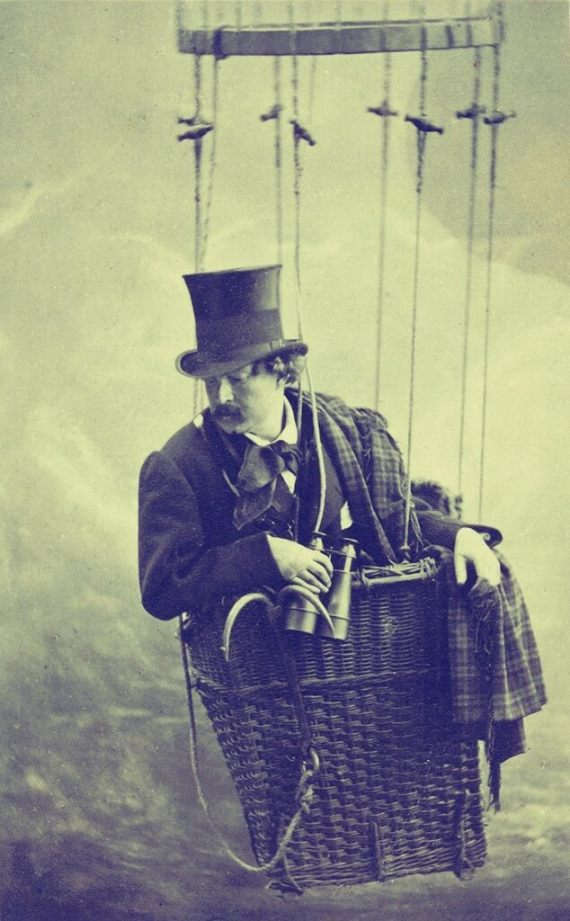 Félix Tournachon 'Nadar' in a gondola of a balloon. By Nadar Studio, c. 1863