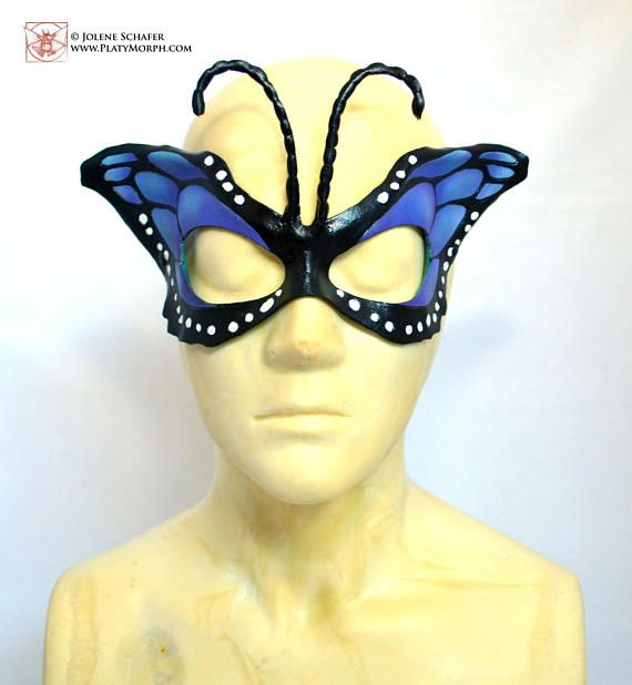 Blue Teal Butterfly Wing Half Mask Masquerade Fancy Dress