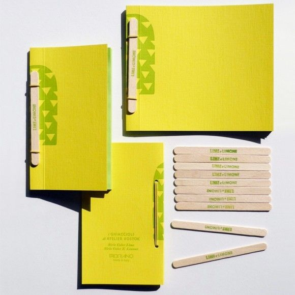 Fabriano 'Ghiacciolo' (Italian for popsicle) notebooks, hand-bound with a wooden popsicle stick. Pick your flavour: lemon-lime or raspberry-cream.