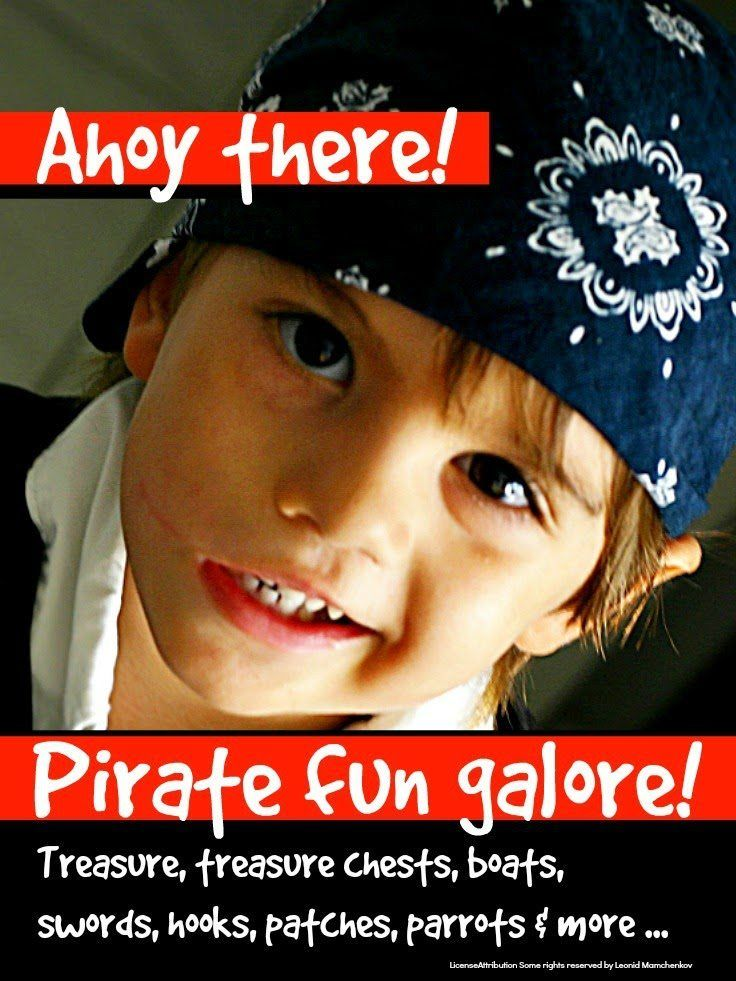 Pirate activities galore for kids including treasure boxes, swords, patches, parrots, boats and more ...