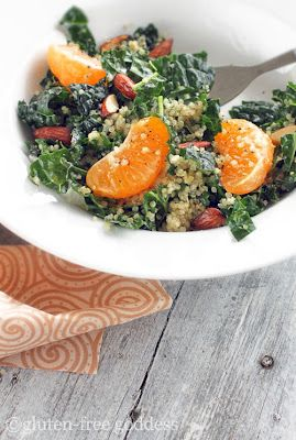 kale salad with quinoa tangerine and roasted almonds | Gluten Free Goddess: Free Goddesses, Kale Salads, Gluten Free Salad Recipe, Tangerine, Eating, Quinoa, Healthy Food, Roasted Almonds, Glutenfree