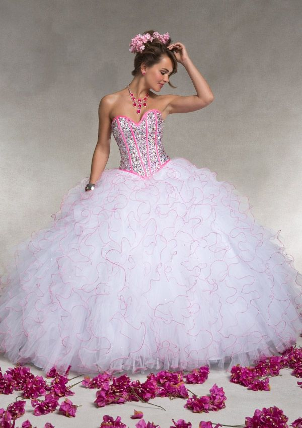 Gorgeous white and pink gown