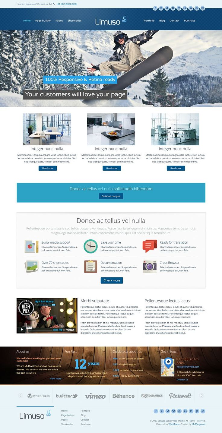 Limuso is great & easy to use theme for everyone. Built-in Content Builder, Options Panel with tons of options, 80+ shortcodes and items or ...