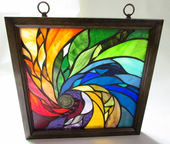 Stained Glass Mosaic Artwork - Spiral - 18 X 18 inches - Wooden frame
