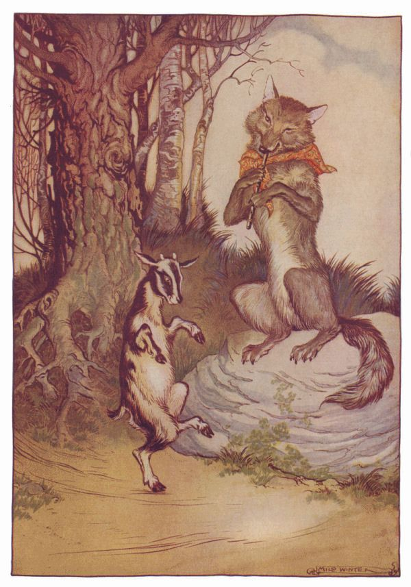 "The Wolf and the Seven Little Kids is a fairy tale told across the world. The mother goat tells her ""kids"" to not open the door for the wolf. She says ""The wretch often disguises himself, but you will know him at once by his rough voice and his black feet."" The wolf is deemed magickal because he tries to decieve the kids by first changing his voice by eating chalk to soften his voice. Then he whitens his feet with powder to look like hooves."