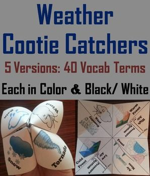 Weather: These weather cootie catchers are a great way for students to have fun and learn about weather at the same time.   Weather Vocabulary Terms: Weather, Rain, Sleet, Snow, Hail, Dew, Precipitation, Climate                              And Front, Warm front, Cold front, Wind, Humidity, Low pressure, High pressure, Air mass                              And Thunderstorm, Hurricane, Lightning, Tornado, Meteorologist, Jet stream, Weather map, Weather forecast…