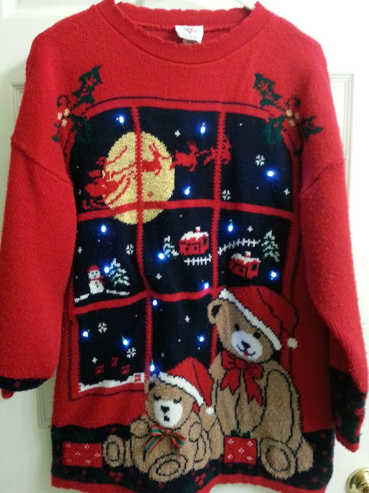"""Light up vintage ugly christmas sweaters for sale! Use coupon code """"pinterest"""" for 10% off checkout from 12/07/14 to 12/23/14 #uglychristmassweater"""