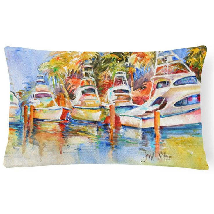 Carolines Treasures Deep Sea Fishing Boats at the Dock Rectangle Decorative Pillow - JMK1052PW1216
