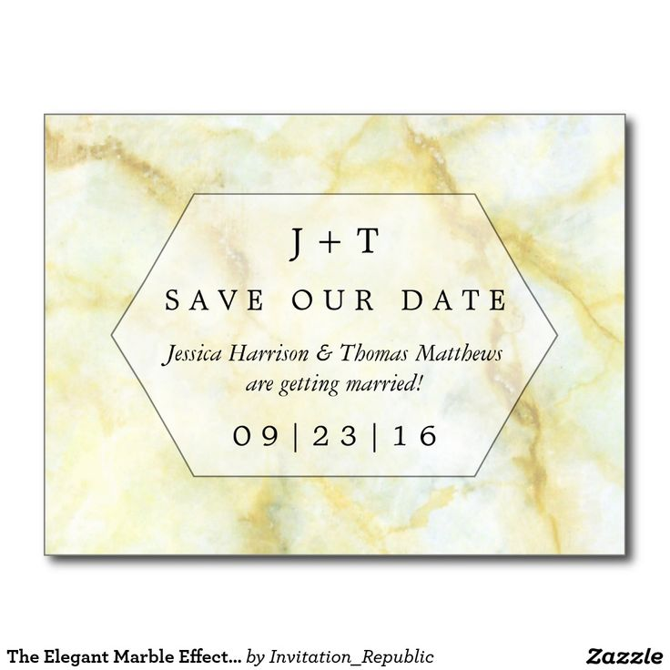 The Elegant Marble Effect Wedding Save The Date Postcard