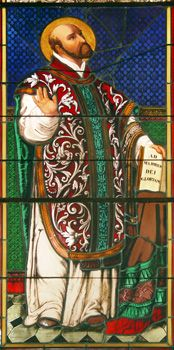 Stained glass of St. Ignatius Loyola