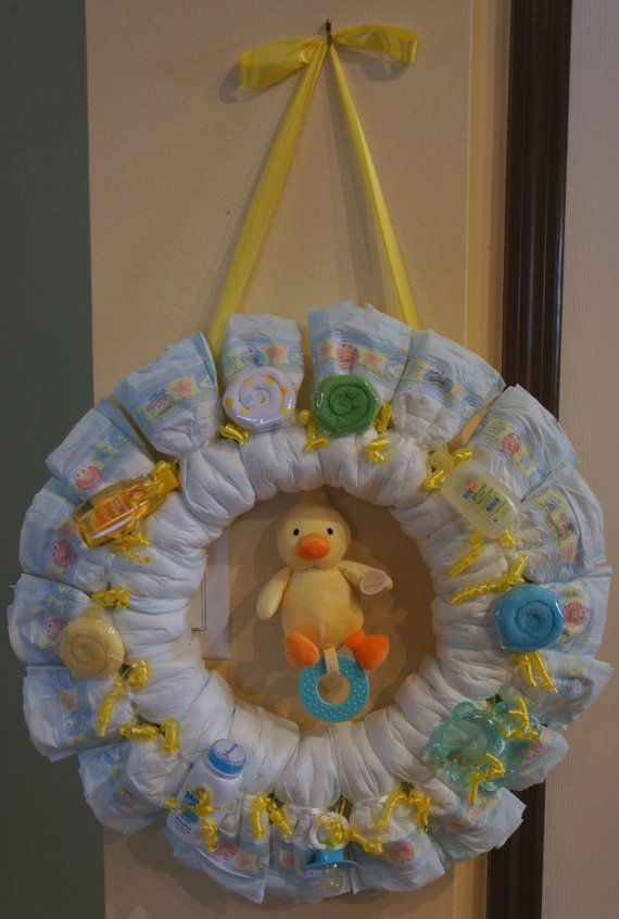 Yellow Duck W Blue Diaper Wreath By Uniquecustomgift On