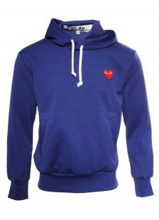 Comme des Garcons Play Mens Red Heart Hoody Blue