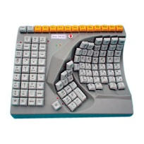 A keyboard that is designed for the use of one hand. It is perfect for those with hemiplegia and those suffering from weakness or fine motor deficits in one arm. This keyboard will work with all populations and would be great for home and office use. The cost is $455.95.