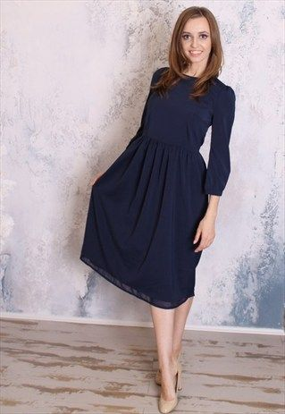 Navy blue midi dress with sleeves coming soon to Mode-sty #nolayering #sleevesplease