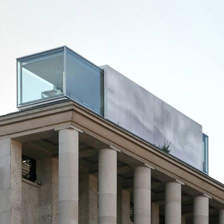 A temporary, transportable restaurant on the roof of Le Palais de Tokyo museum in Paris.