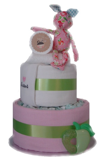 Honey Bunny Two Tier Nappy Cake    $79.00  20 Huggies newborn nappies  1 coloured muslin wrap  1 plain white muslin wrap  1 newborn bib  1 face washer  1 tub of botty balm for bub  1 paisley bunny toy with rattle  1 teether