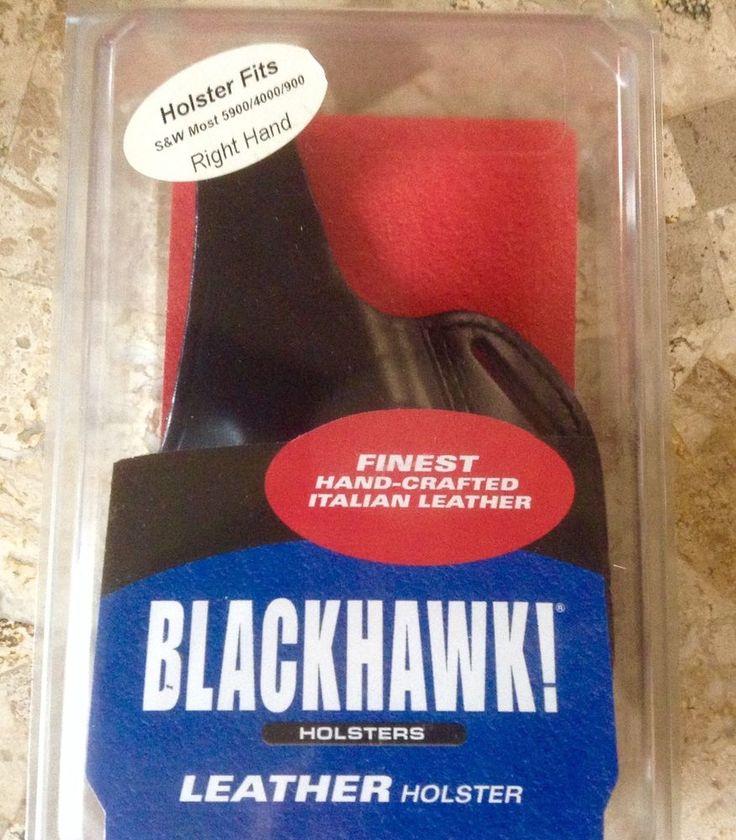 NEW BLACK LEATHER BLACKHAWK HOLSTER S & W FITS MOST 5900 4000  900 #Blackhawk #BeltPancakestyle