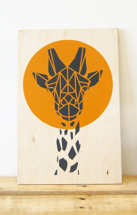 Orange Giraffe Art on Plywood, Limited Edition,  Bright Orange Art. Original Art, Stencil Animal, Geometric Art, Origami Giraffe