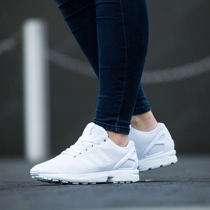 The triple white adidas Originals Womens ZX Flux Base Pack Trainer available online & in store.