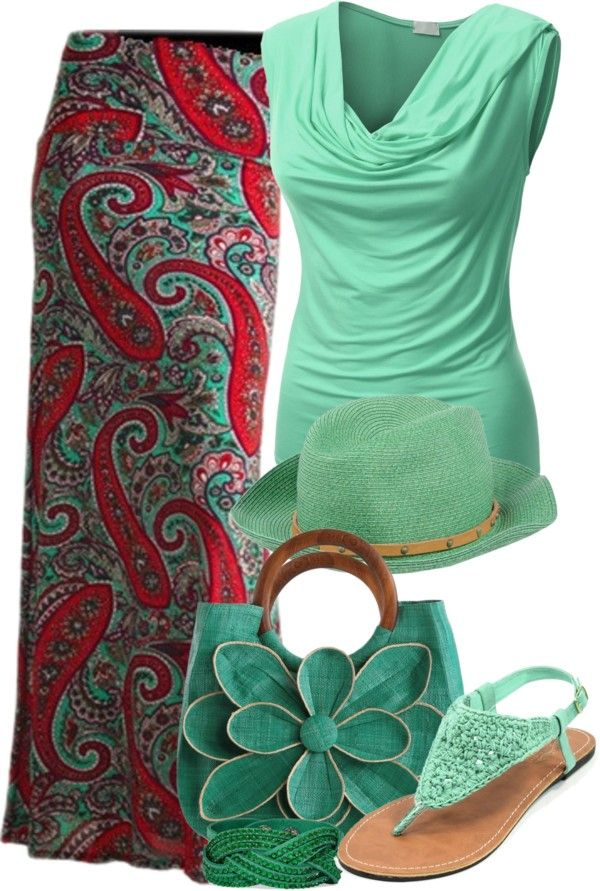 Red + Mint 35 Pretty Maxi Skirt Outfits Polyvore Combinations This Summer - Be Modish - Be Modish
