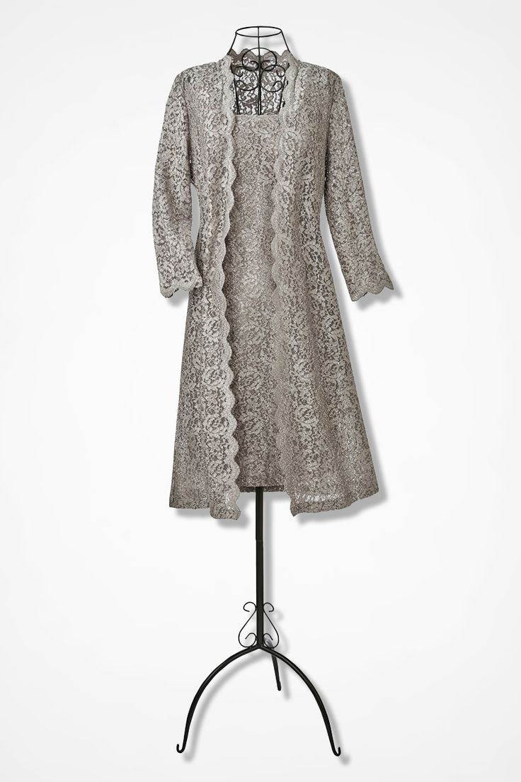 LOVE THE DUSTER! Lace Overlay Duster Dress by Alex Evenings, Champagne --Cold Water Creek