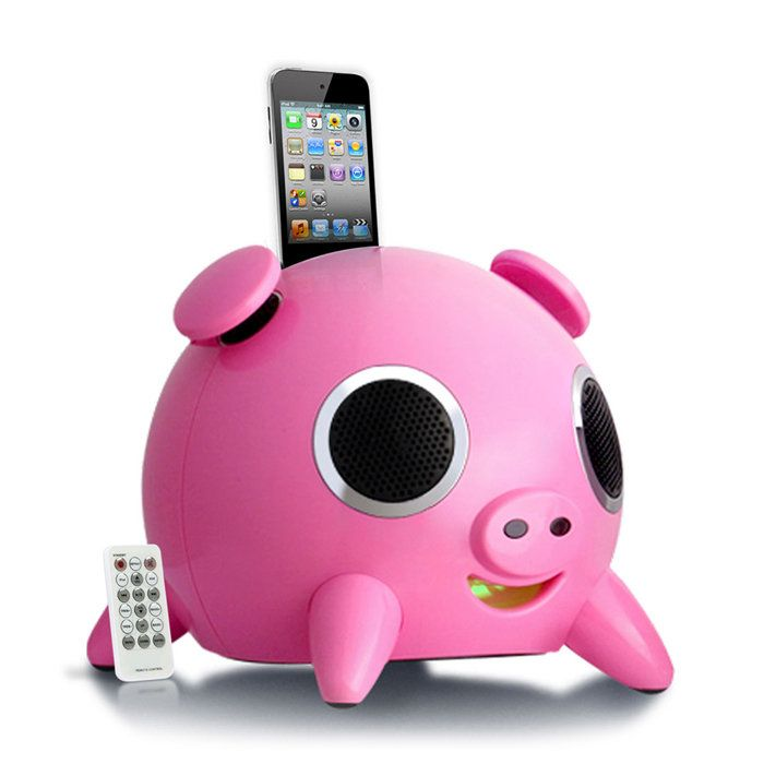 Speakal iHog Pig Stereo Docking Station and Speaker System with  Rechargeable Battery for iPhone and iPod (Pink)