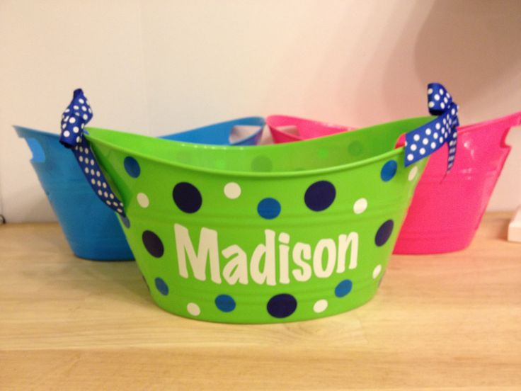 689 best vinyl images on pinterest bricolage cheer athletics personalized oval tub gift basket name initial or monogram polka dots or custom design baby gift basket negle Choice Image