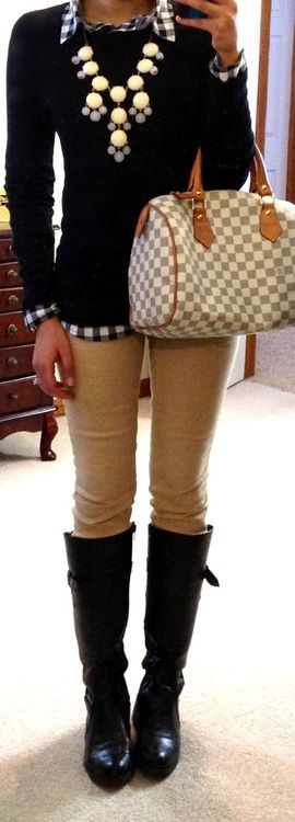 California girl khaki skinny jeans black sweater boots plaid shirt statement necklace