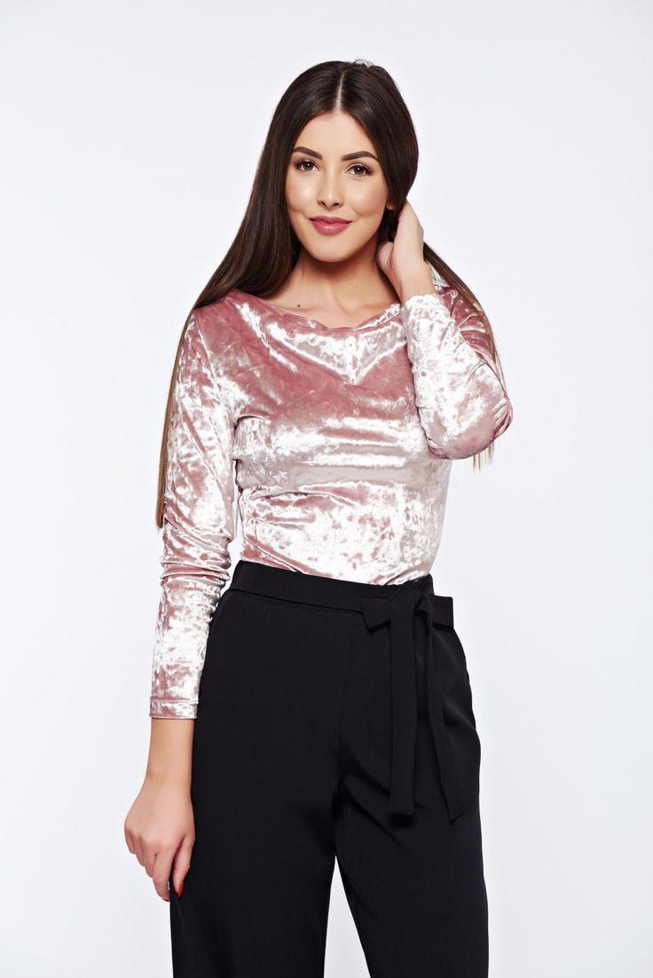 StarShinerS rosa elegant velvet women`s blouse with large collar, large collar, tented cut, long sleeves, velvet