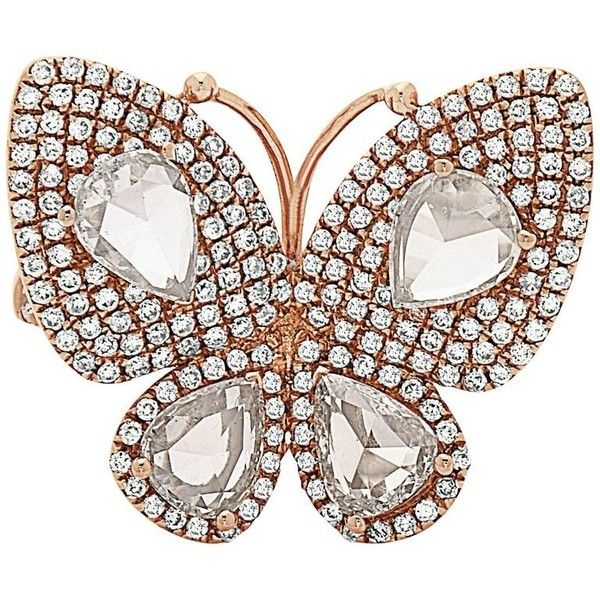 Butterfly Pear Shape Diamond Ring ($7,160) ❤ liked on Polyvore featuring jewelry, rings, fashion rings, multiple, pear shape ring, 18 karat gold ring, pre owned diamond rings, butterfly diamond ring and 18k diamond ring