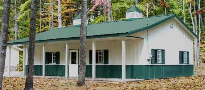 Post frame building with living quarters frame design for Pole barn with living quarters plans