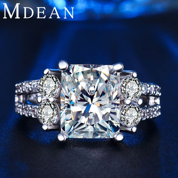 MDEAN 화이트 골드 도금 반지 빈티지 반지 CZ 다이아몬드 보석 빈티지 반지 웨딩 약혼 반지 비쥬 ringMSR125